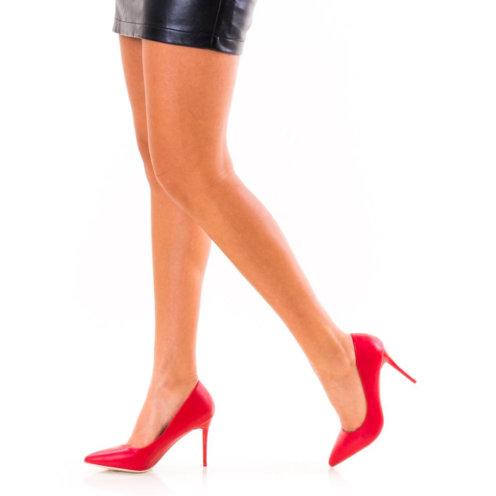 Pantofi Stiletto Rosii Piele Naturala